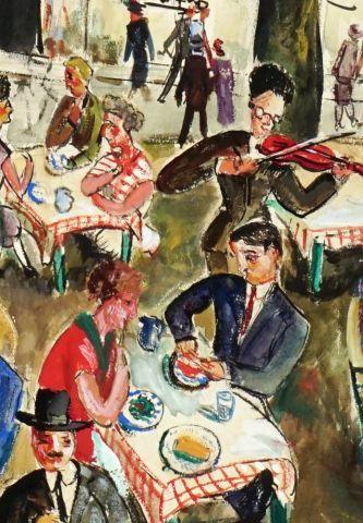 GENIN (actif Xxe)  Déjeuner sur la terrasse d'un café parisien  Technique mixte...