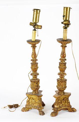 Paire de pique-cièrges d'autel Louis XIV,...