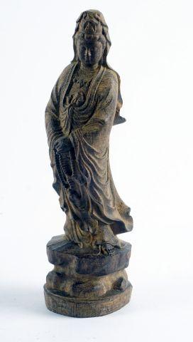 Sujet en bambou, représentant la déesse Guanyin,...