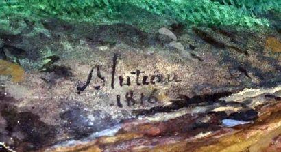 BLUTEAU, Augustin (act.1793-1818)  Paysage animé  Aquarelle  Signée et datée en...