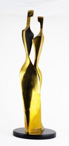BENSHALOM, Itzik (1945-)  Sans titre - Amoureux  Bronze à patine dorée  Signé, daté,...