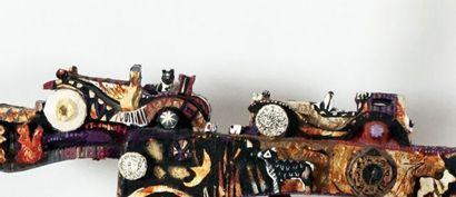 """DAMIE, Ève (1961-)  """"The time traveller (Le voyageur temporel)""""  Collage et acrylique..."""