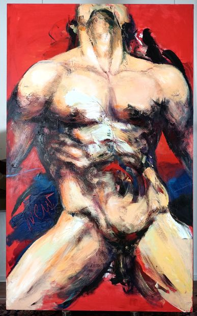 CORNO, Joanne (1952-2016)  Untitled - Nude man  Acrylic on canvas  On the lower...