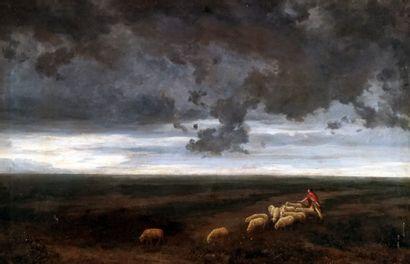 ÉCOLE ESPAGNOLE XIXe  Pastorale  Huile sur...
