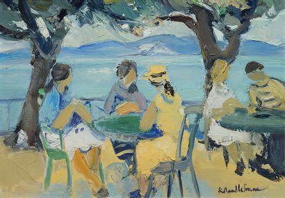 LEFRANC, Roland (1931-2000)  Sur la terrasse...