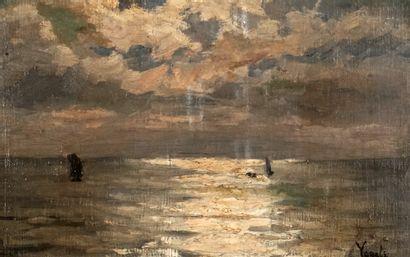 VOGELS, Guillaume (1836-1896)  La mer  Huile...