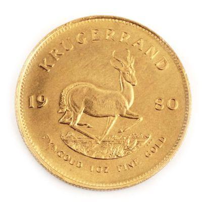 Une monnaie en or Krugerrand 1980