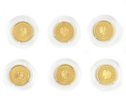 Six monnaies de 20 Euros la série Forêt Allemande,...