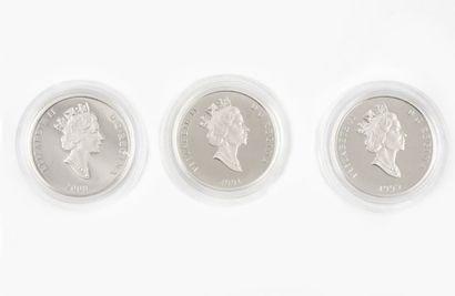 Trois monnaies de 75 dollars série de la...