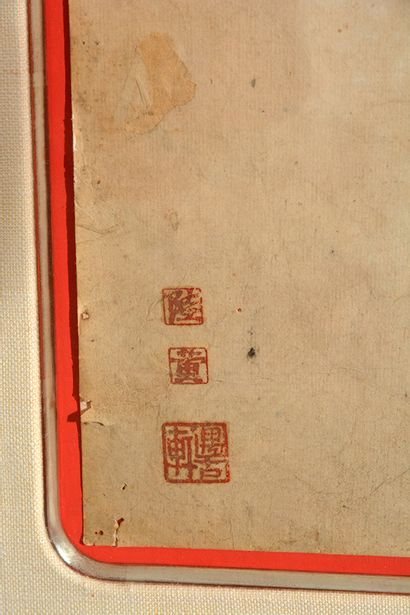PEINTURE CHINOISE XIXeme  Peinture à l'encre et couleurs sur papier, représentant...