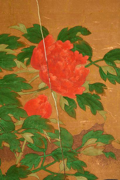 ECOLE JAPONAISE XIXe  Paravent Byobu à deux feuilles, peint à l'encre et couleurs...