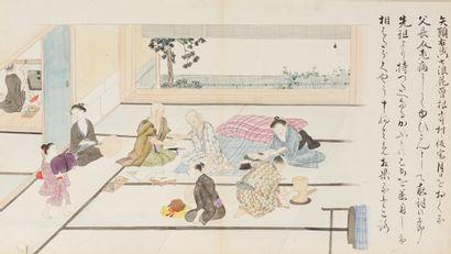 ÉCOLE ASIATIQUE  Fragments de rouleaux japonais représentant une scène familiale...