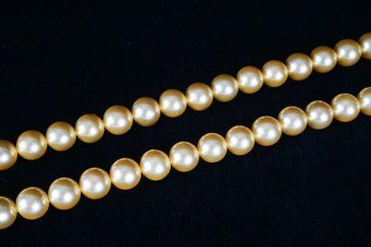 COLLIER DE PERLES  Collier de perles dorées des mers du sud  L : 53cm – 21''