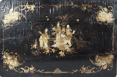 NINGBO  Panneaux en bois de Ningbo, représentant des scènes de théâtre. Chine, fin...