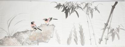 Album en acordéon: aquarelle sur papier « Jardin d'oiseaux », dans le style de Zhang...