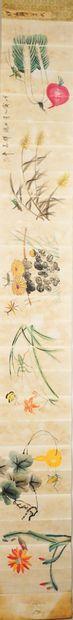 ALBUM SONS D'AUTOMNE, XIXe  Album dépliable d'aquarelle sur papier « Sons d'automne...