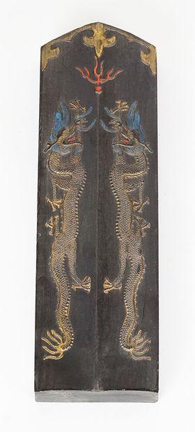 BLOC D'ENCRE  Tablette en bois, à décor polychrome...