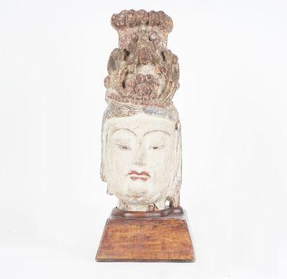GUANYIN  Tête de Guanyin chinoise en bois...