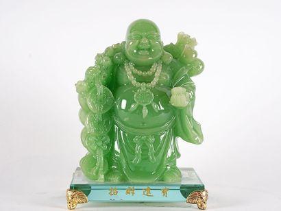 BOUDDHA  Statuette chinoise en verre représentant...