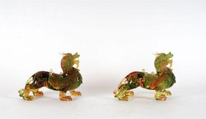 DRAGONS  Paire de dragons chinois en verre....