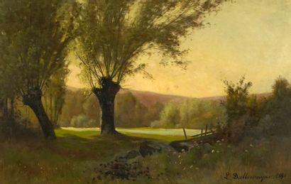 DALLEMAGNE, Léon (1837-1907)  Paysage  Huile...