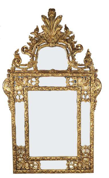 Grand miroir d'Époque Régence à parclose,...