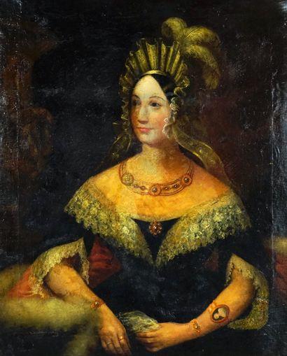 ÉCOLE EUROPÉENNE XVIIIe  Portrait d'une noble...