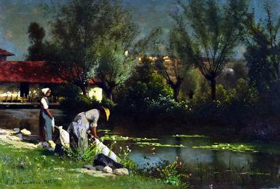 DALLEMAGNE, Léon (1837-1907)  Lavandières...