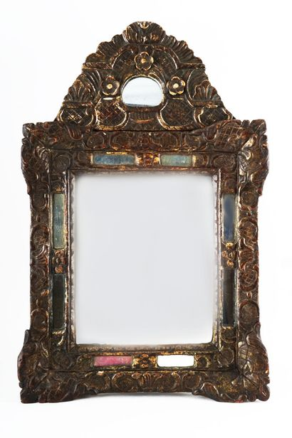 Miroir à parclose en bois foncé,le fronton...