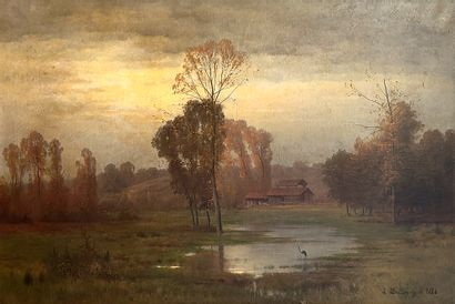 DALLEMAGNE, Léon (1837-1907)  Paysage marécageux...