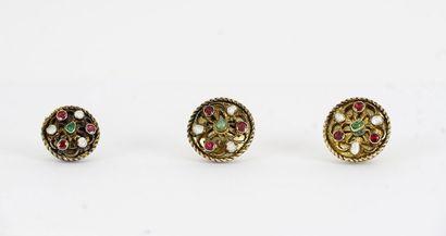Ensemble de trois boutons du XIXe siècle,...