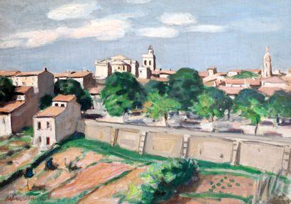 ANDRÉ, Albert (1869-1954)  ''Uzes''  Huile...