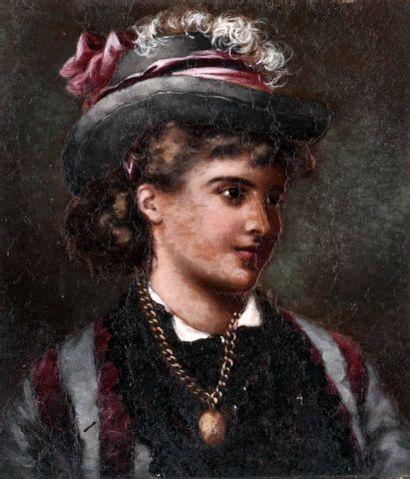 ÉCOLE EUROPÉENNE XIXe  Portrait d'une dame...