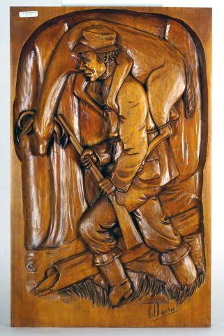 BOURGAULT, Gilles (1937-)  Chasseur  Bas-relief...
