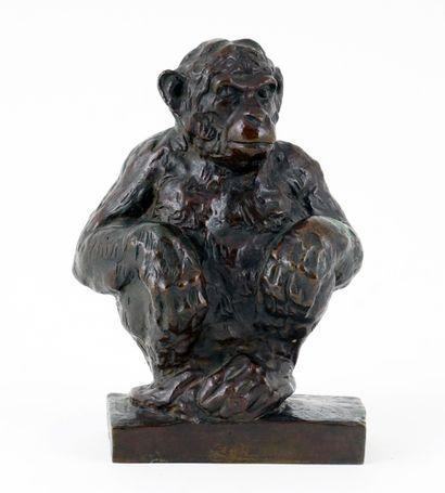 TOMBA, Cleto (1898-1987)  Singe  Bronze à...