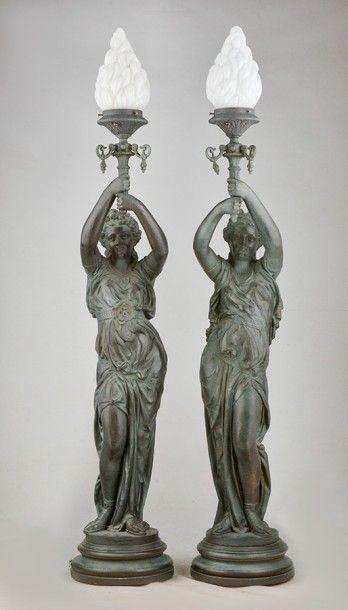 DURENNE, Antoine (1822-1895) Paire de sculptures...