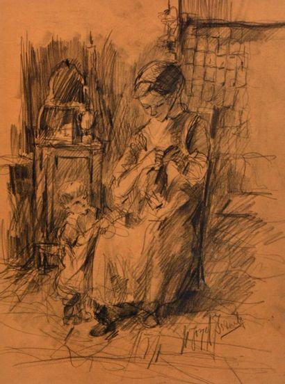ISRAELS, Jozef (1824-1911) Couturière Fusain...