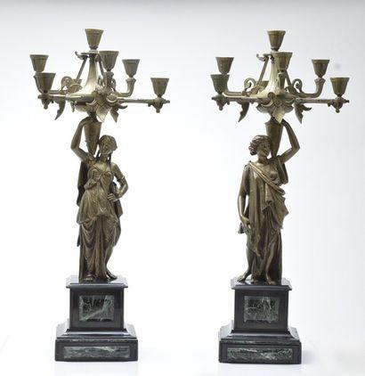 Paire de candélabres en bronze doré d'époque...