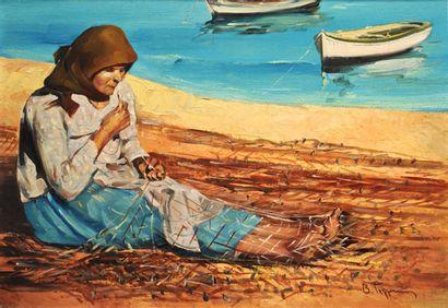 GERMENIS, Vasilis (1896-1966) Femme au filet...