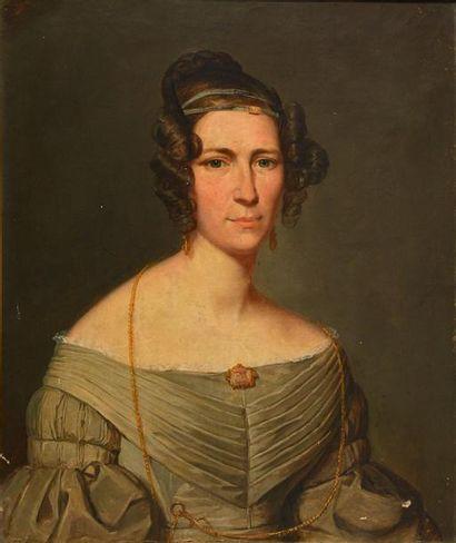 ÉCOLE ANGLAISE - XIXème s. ÉCOLE ANGLAISE - XIXème s. Portrait de Sophia de Carteret,...