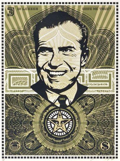 """FAIREY, Shepard (1970-) FAIREY, Shepard (1970-) """"Nixon Money"""" Sérigraphie couleurs..."""