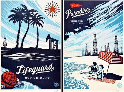 "FAIREY, Shepard (1970-) FAIREY, Shepard (1970-) ""Enjoy Paradise Until the Tide Turns""..."