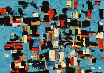 """BRANDTNER, Fritz (1896-1969) BRANDTNER, Fritz (1896-1969) """"Collage Blue"""" Huile sur..."""