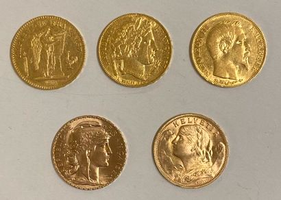 * Cinq pièces de 20 Francs or : Génie 1849...