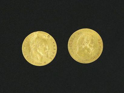 * Deux pièces de 5 Francs or Napoléon III...