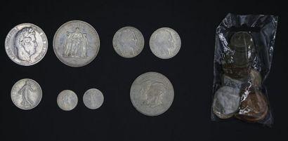 Ensemble de pièces en argent : 50 francs...