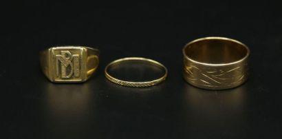 * Anneau large, anneau gravé et chevalière...
