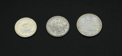 Trois pièces en argent : 100 F Bicentenaire...