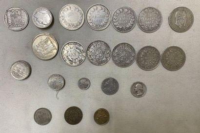 * Ensemble de monnaies en argent : - 20 francs...