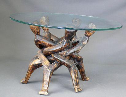 Table à piètement amovible en bois monoxyle...